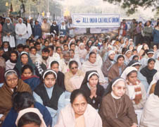 Indian church leaders at a sit-in demonstration in New Delhi for Dalit Christians' rights (File photo)
