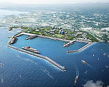 Bird's-eye view of the planned naval base in Jeju island