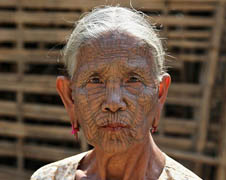 An elderly Chin woman in Myanmar