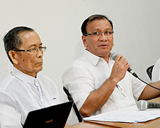 Archbishop Pacino Aniceto (left) urging priests to attend the natural family planning seminar