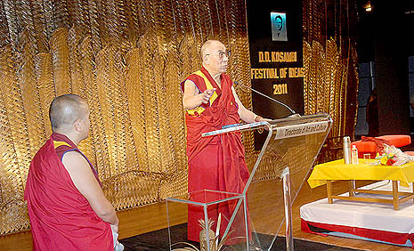 Dalai Lama addressing the audience at the festival of ideals