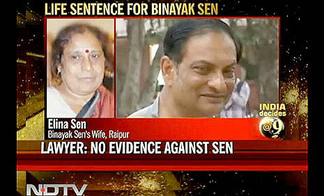 A screenshot of an Indian TV news report on Binayak Sen