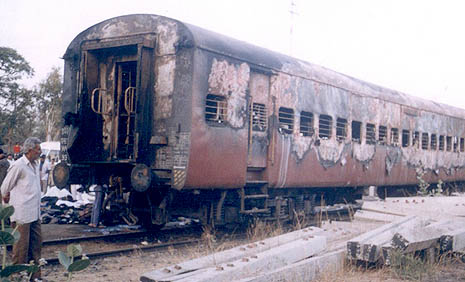 The train coach which was attacked on Feb. 27, 2002 at Godhra (File photo)