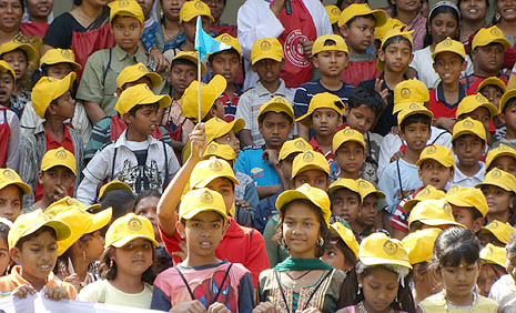 Catholic kids rally during the festival at Golla parish near Dhaka on 4 March