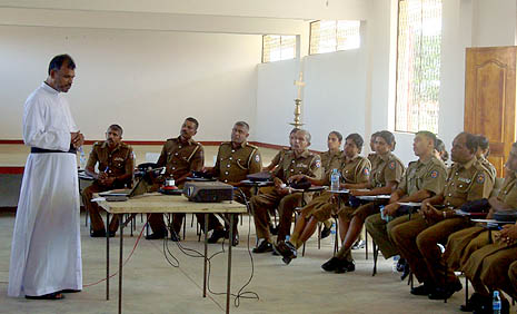 Police officers in a recent program in Puttlam