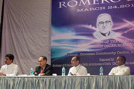 Archbishop Vincent Concessao of New Delhi (third from left) and El Salvador ambassador to India Ruben I Zamora