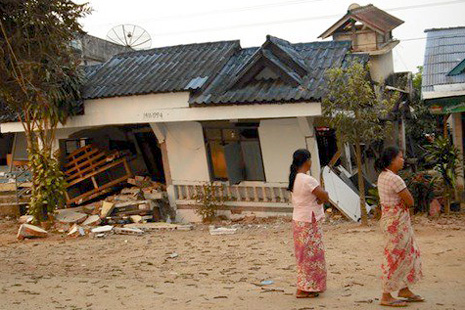 Damaged houses in Shan state, northeastern Myanmar