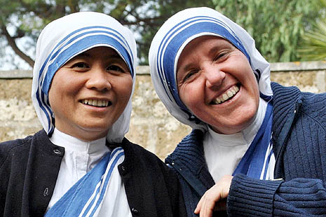 The two Missionaries of Charity Sisters who are attending the formation course