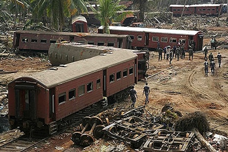 A tsunami-hit train in Sri Lanka in 2004