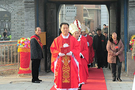 Bishop Joseph Guo Jincai of Chengde and other bishops at the illicit ordination on November 20, 2010