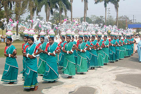 Catholic Santal tribals during a Church function in Krishnagar