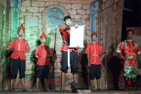 Actors during a stage performance of the cenaculo