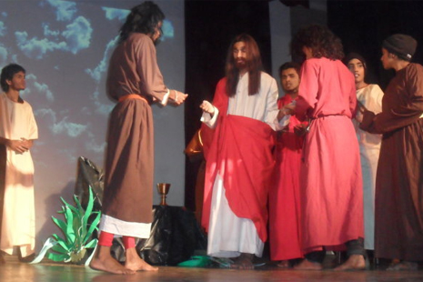Sri Lankan youths perform a passion play