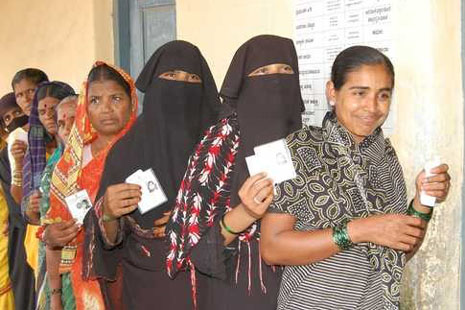 Voters line up to have their say in India's state elections