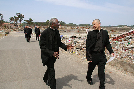 Cardinal Sarah, left, with Father Daisuke Narui, Executive Director of Caritas Japan