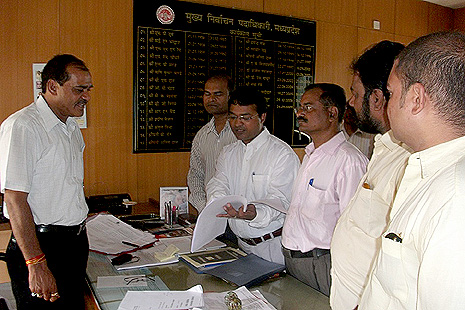 Christian leaders submitting a compliant to the state chief electoral officer against state president of Bharatiya Janata Party, Prabha Jha in his office, Bhopal