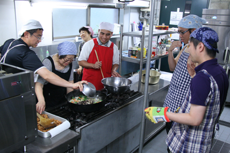 Seminarians during a cooking workshop