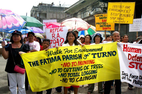 Protesters rally against mining operations in Mindanao parish