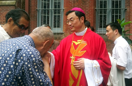 Lay Catholics kiss Auxiliary Bishop Thaddeus Ma Daqin's ring after his ordination today in Shanghai