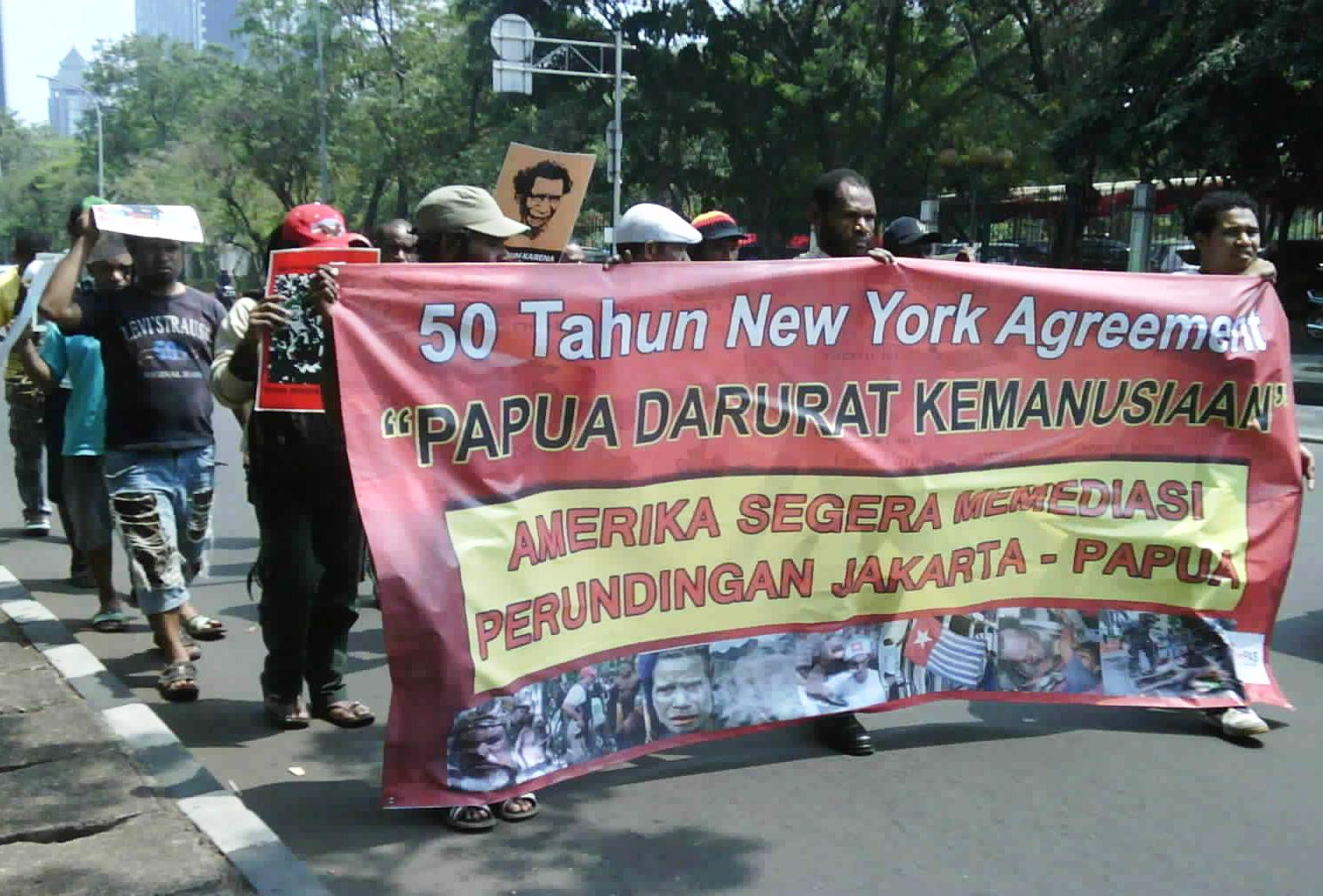Papuans rally outside the U.S. embassy on Wednesday