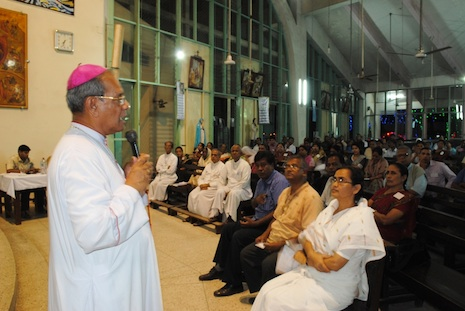 Dhaka archbishop Patrick D'Rozario speaks at the meeting yesterday