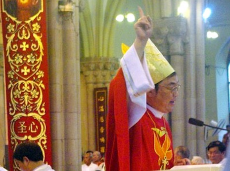 Bishop Ma gestures during his speech of thanksgiving in July