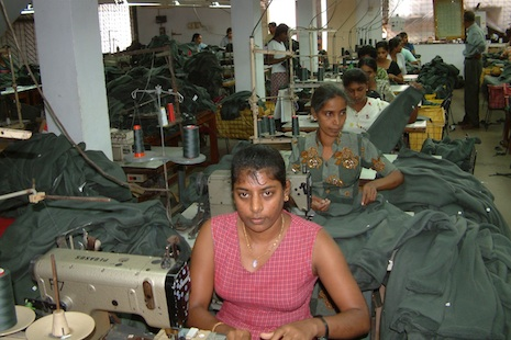 Workers at a garment factory in Sri Lanka