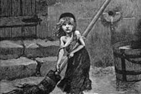 An engraving of the character Cosette from the novel 'Les Miserables'