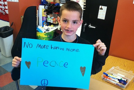 Martin's message, penned at school