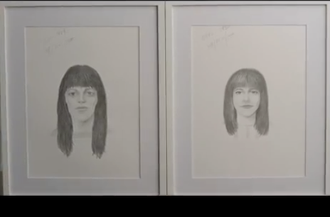 Two sketches of the same woman by the same artist, based on different descriptions