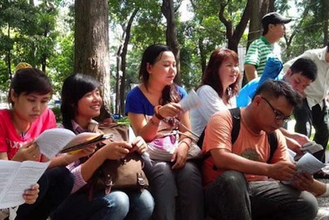 Activists read out the Universal Declaration of Human Rights in Ho Chi Minh City