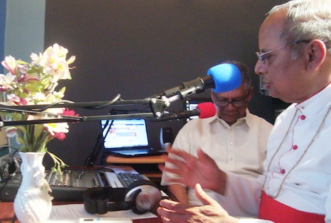 <p>Cardinal Malcolm Ranjith gives an interview for the inaugural broadcast</p>