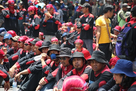 <p>Indonesian workers at a recent rally (file photo)</p>
