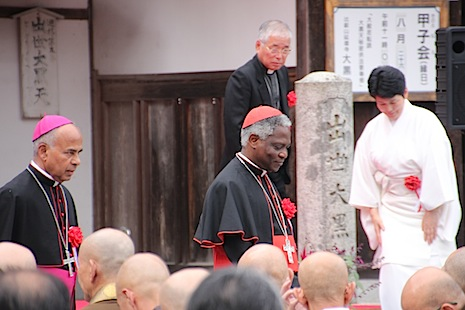 <p>Cardinal Peter Kodwo Appiah Turkson at an interfaith gathering at the Enryakuji Temple on Mount Hiei, a Buddhist holy sit outside Kyoto</p>