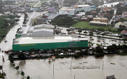 <p>A flooded area in Metro Manila (photo courtesy of the Philippine Air Force)</p>