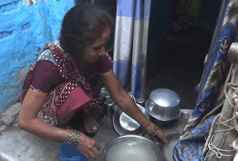 <p>A domestic worker in New Delhi</p>