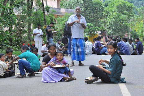 <p>Protesting villagers block a road in their 48 hours of civil disobedience</p>