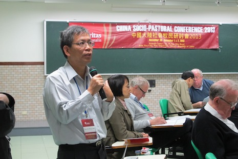<p>Paul Pun Chi-meng, secretary-general of Caritas Macau, speaks at the conference.</p>