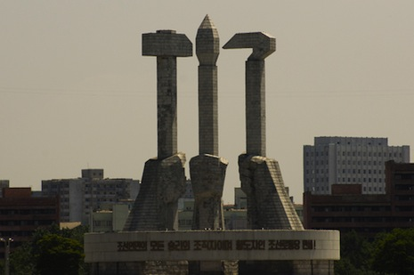 <p>Workers Party of Korea monument, Pyongyang. Picture: <a href=&quot;http://www.shutterstock.com/pic-153615623/stock-photo-monument-workers-party-of-korea.html?src=oy9I6axCIQVo_O1MA2Fx3w-2-21&quot; target=&quot;_blank&quot;>Shutterstock</a></p>