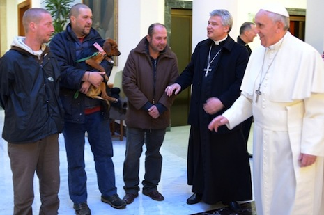 Pope celebrates birthday with homeless men