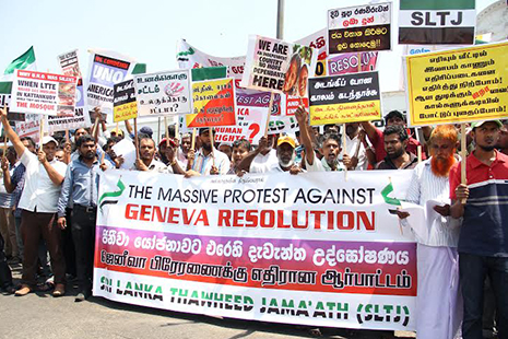 <p>Pro-government supporters hold a demonstration earlier this week against a UN resolution to investigate alleged war crimes in Sri Lanka.</p>