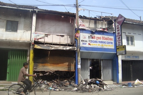 <p>Muslim-owned shops in Aluthgama that were destroyed by a hardline Buddhist mob during riots that killed four people on June 15.</p>