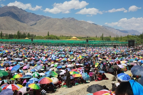 <p>Thousands of pilgrims encamp in India's Ladakh region to attend the bienniel Kalachakra ceremony (Photo by&nbsp;Shawn Sebastian)</p>