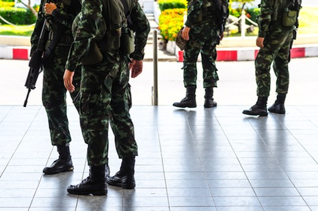 <p>Thailand's military leaders declared a coup in May. Picture: <a href=&quot;http://www.shutterstock.com/pic-194977871/stock-photo-military-coup-thailand-curfew.html?src=sF9QPdrHNOBkxUvoDsXvng-1-16&quot; target=&quot;_blank&quot;>Shutterstock</a></p>