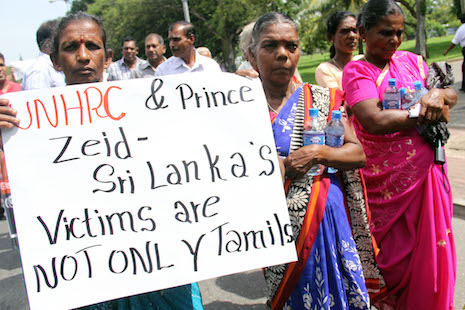 Hundreds demonstrate in front of UN Colombo office