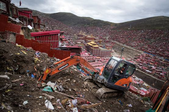 Demolition of monks' homes starts at Tibetan Buddhist center