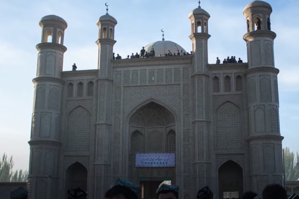China builds toilet on Uyghur mosque site