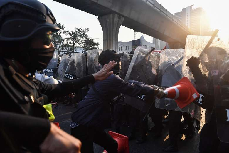 Police clash with protesters at Myanmar embassy in Thai capital