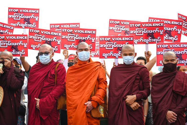Buddhist monks divided over Myanmar resistance movement