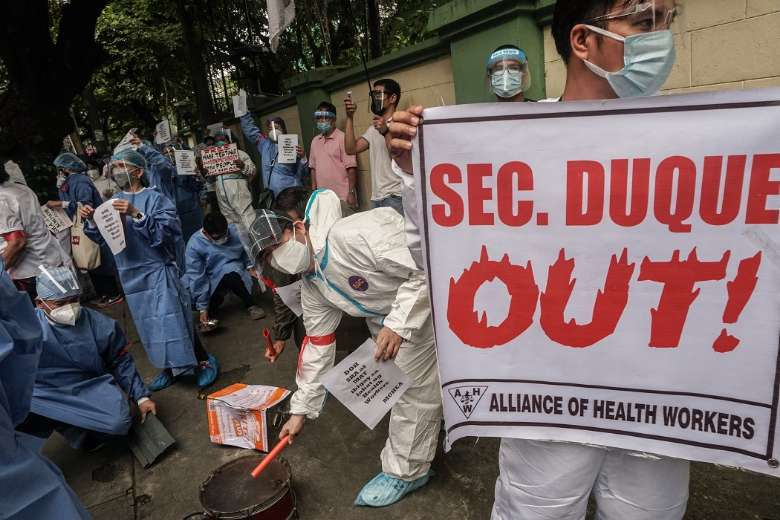 Philippine medical staff up protests over unpaid benefits
